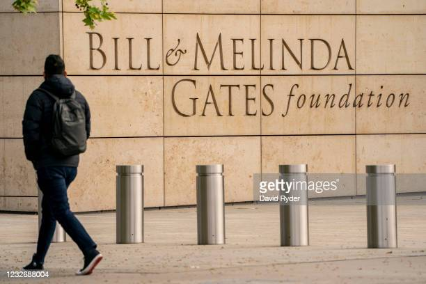 Pedestrian walks by the Bill and Melinda Gates Foundation on May 4, 2021 in Seattle, Washington. Bill Gates and Melinda Gates announced their divorce...