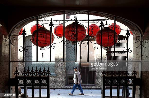 A pedestrian walks by the MaTsu temple in San Francisco's Chinatown district on February 3 2011 in San Francisco California People worldwide are...