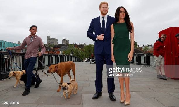 A pedestrian walks dogs past waxwork figures of Britain's Prince Harry and his US fiance Meghan Markle during a photo oportunity arranged by Madame...