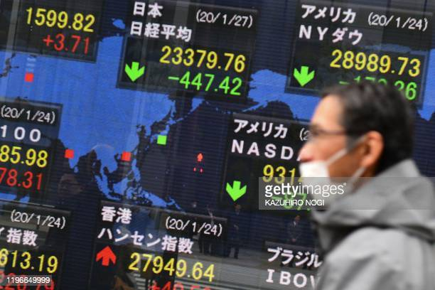 A pedestrian walks in front of an electric quotation board displaying share prices of world bourses including the Tokyo Stock Exchange along a street...