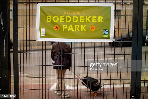 A pedestrian walks in front of Boeddeker Park in the Tenderloin district of San Francisco California US on Thursday Jan 15 2015 In a city where...