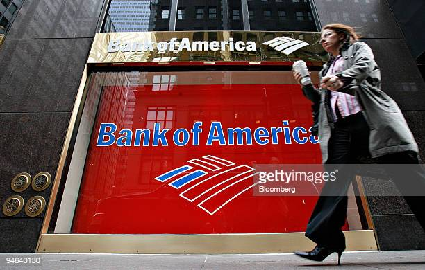 A pedestrian walks outside a Bank of America branch in New York Thursday April 19 2007 Bank of America Corp the secondlargest US bank said...