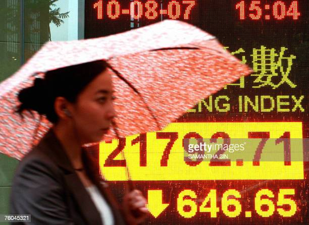 Pedestrian walks past a Hang Seng index board in Hong Kong, 10 August 2007. Hong ong Kong share prices closed sharply lower 10 August down 2.88...