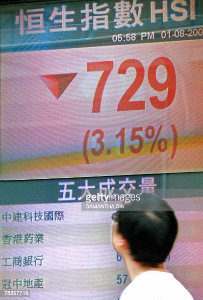 Pedestrian walks past a screen displaying the Hang Seng index in Hong Kong, 01 August 2007. Hong Kong share prices closed 3.15 percent lower with the...