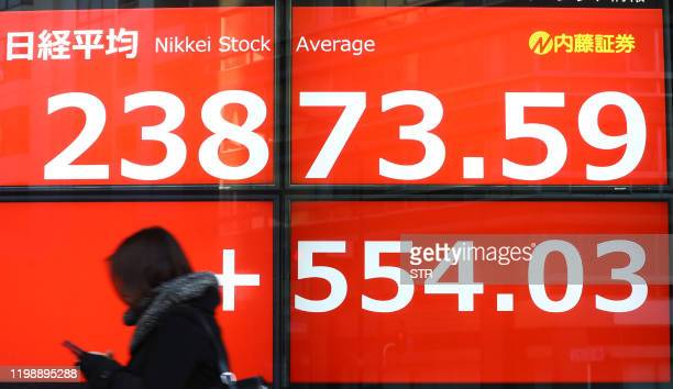 A pedestrian walks past a stock indicator displaying share prices on the Tokyo Stock Exchange in Tokyo on February 6 2020 Tokyo stocks closed more...