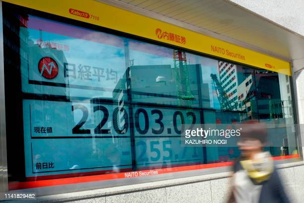 A pedestrian walks past a stock indicator showing share prices of the Tokyo Stock Exchange in Tokyo on May 7 2019 Tokyo's key Nikkei stock index...