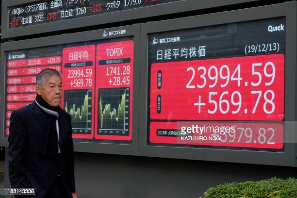A pedestrian walks past an electric quotation board displaying the numbers on the Nikkei 225 Index on the Tokyo Stock Exchange in Tokyo on December...