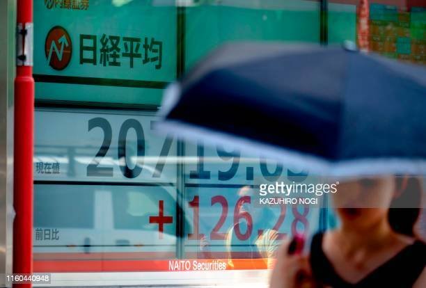 A pedestrian walks past an electric quotation board showing the early morning numbers for the Nikkei 225 index on the Tokyo Stock Exchange in Tokyo...