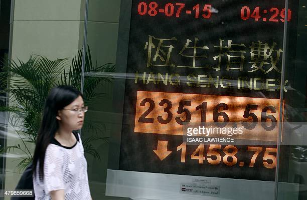 A pedestrian walks past an electronic board showing the Hang Seng Index in Hong Kong on July 8 2015 Hong Kong equities plunged almost six percent...