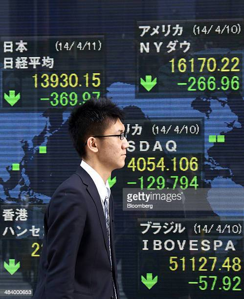 A pedestrian walks past an electronic stock board displaying a midday figure of the Nikkei 225 Stock Average left top outside a securities firm in...