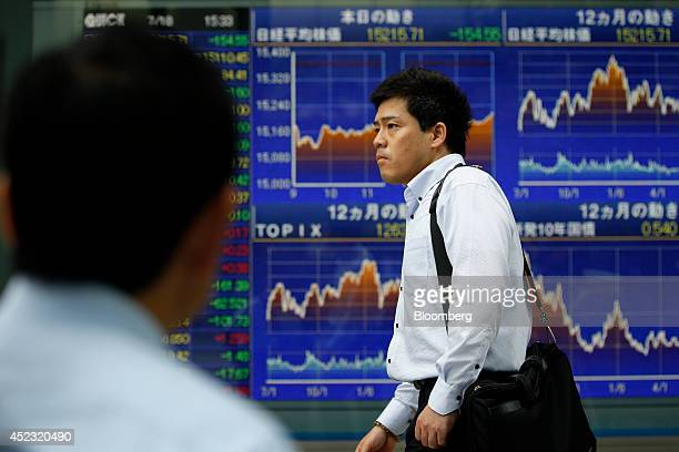 A pedestrian walks past an electronic stock board displaying graphs of the day including the movement of the Nikkei 225 Stock Average top center and...
