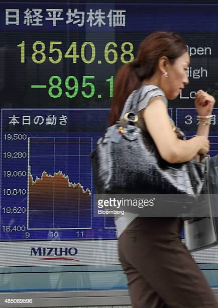A pedestrian walks past an electronic stock board displaying the closing figures of the Nikkei 225 Stock Average outside a securities firm in Tokyo...