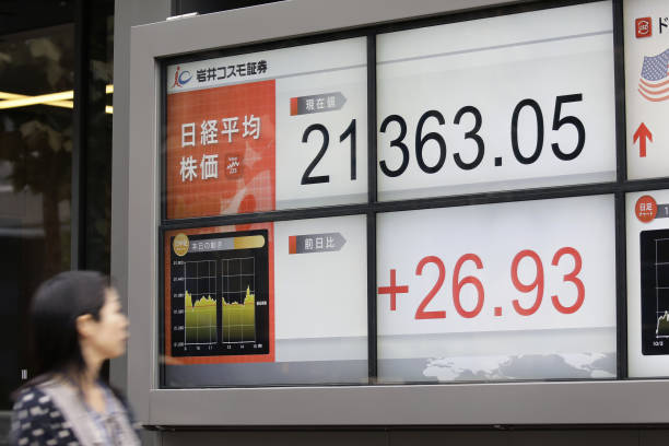 images of electronic stock boards as nikkei and topix index edge up