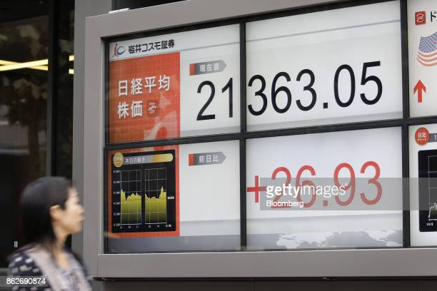 A pedestrian walks past an electronic stock board displaying the closing figure of the Nikkei Stock Average at a securities firm in Tokyo Japan on...