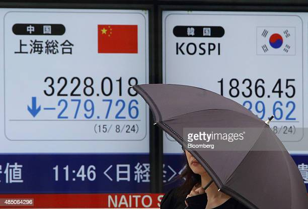 A pedestrian walks past an electronic stock board displaying the Shanghai Composite Index left and the Kospi index outside a securities firm in Tokyo...