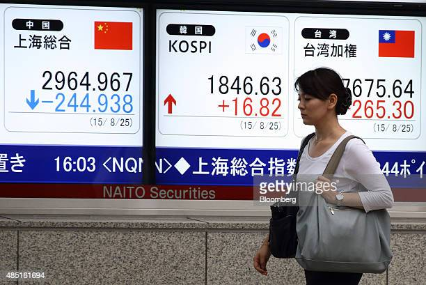 A pedestrian walks past an electronic stock board displaying the Shanghai Composite Index left and the Korea Composite Stock Price Index center and...