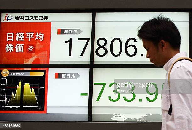 A pedestrian walks past an electronic stock board displaying the closing price of the Nikkei 225 Stock Average outside a securities firm in Tokyo...