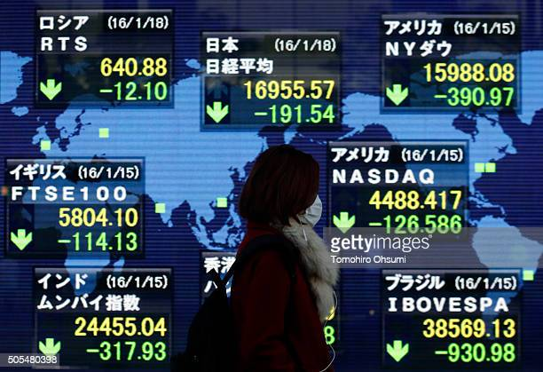 A pedestrian walks past an electronic stock board displaying the closing price of the Nikkei 225 Stock Average top center outside a securities firm...
