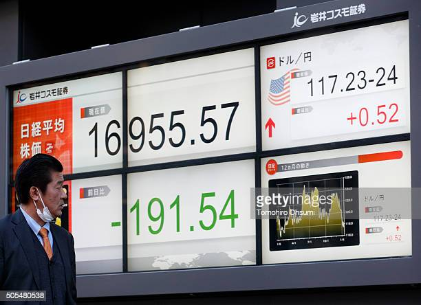 A pedestrian walks past an electronic stock board displaying the closing price of the Nikkei 225 Stock Average left outside a securities firm on...