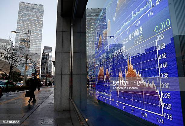 A pedestrian walks past an electronic stock board outside a securities firm on January 18 2016 in Tokyo Japan The Nikkei 225 Stock Average fell to a...