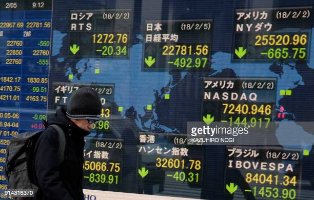 A pedestrian walks past an electronics stock indicator showing the numbers on the Tokyo Stock Exchange and numbers of overseas bourses in Tokyo on...