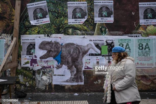 A pedestrian walks past prolife and prochoice signs during a protest outside of the National Congress building in Buenos Aires Argentina on Wednesday...