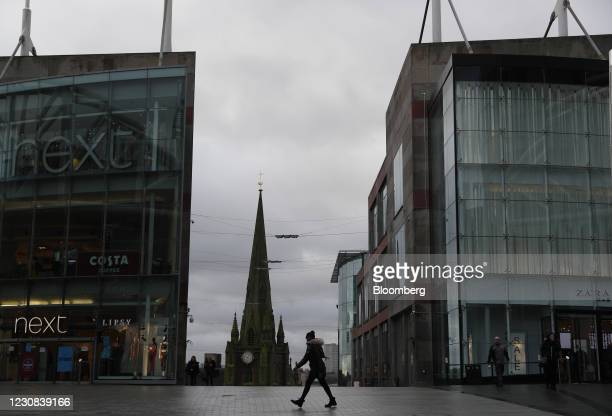 Pedestrian walks past the Bullring shopping center in central Birmingham, U.K., on Thursday, Jan. 28, 2021. U.K. Government officials have suggested...