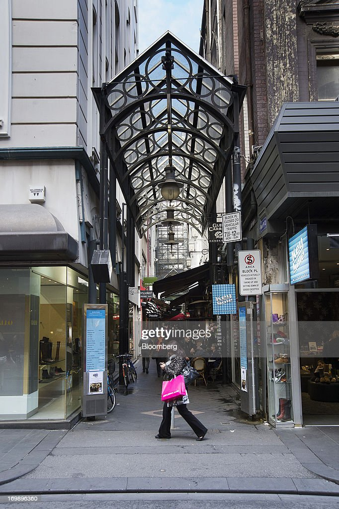 A pedestrian walks past the entrance to The Block Arcade in central Melbourne, Australia, on Sunday, June 2, 2013. The Australian Bureau of Statistics is scheduled to release first-quarter gross domestic product data on June 5. Photographer: Carla Gottgens/Bloomberg via Getty Images