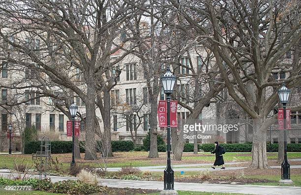 Pedestrian walks through the Main Quadrangles on the Hyde Park Campus of the University of Chicago on November 30, 2015 in Chicago, Illinois. The...