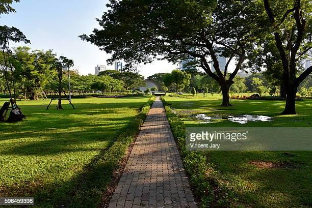 Pedestrian walkway at Lumpini park landscape Bangkok Thailand, Asia