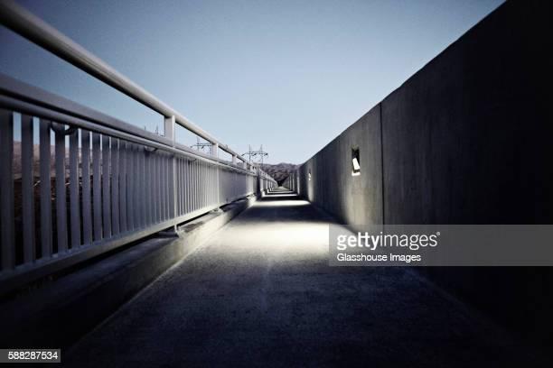 Pedestrian Walkway at Night, Hoover Dam, Nevada, USA