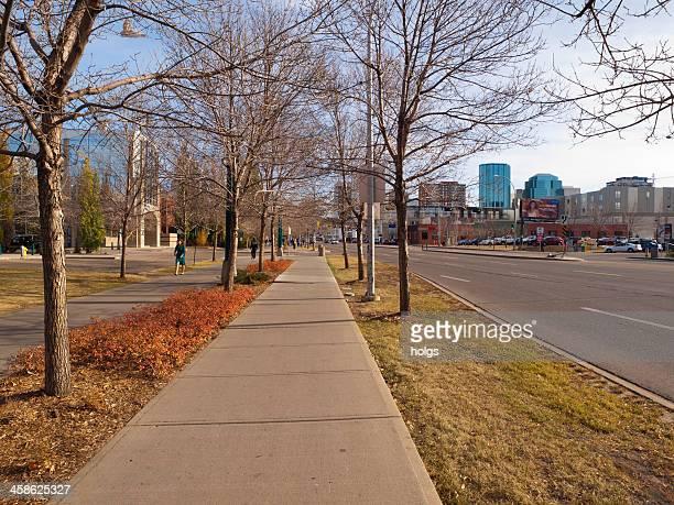 pedestrian walkway in downtown edmonton, alberta - edmonton stock pictures, royalty-free photos & images