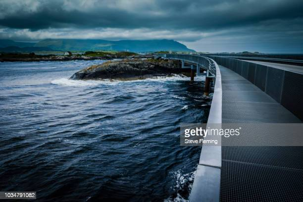 Pedestrian walkway on the Atlantic causeway, Norway.
