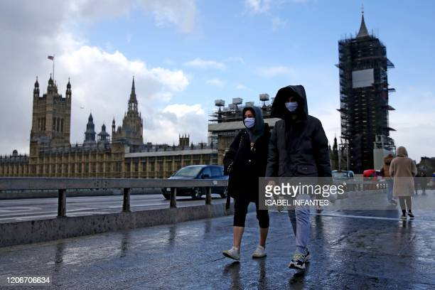 Pedestrian wearing a face mask walks along Westminster Bridge in front of the Houses of Parliament in London on March 12 2020 The British government...