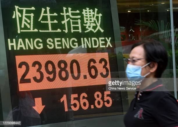 A pedestrian wearing a face mask walks past an electronic screen displaying the Hang Seng Index on May 7 2020 in Hong Kong China Hang Seng Index the...