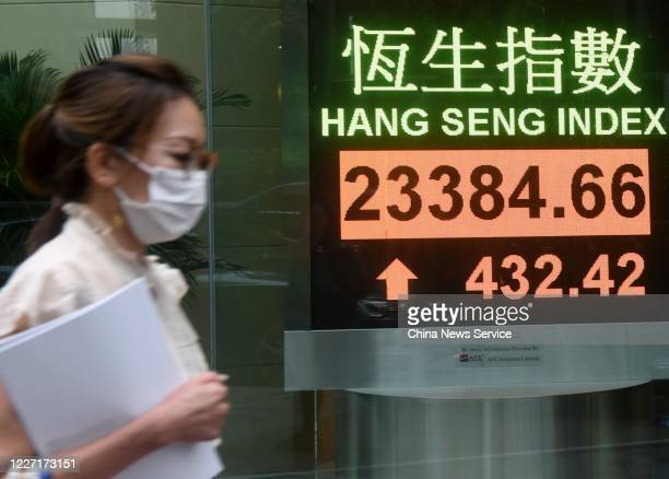 A pedestrian wearing a face mask walks past an electronic screen displaying the Hang Seng Index on May 26 2020 in Hong Kong China Hang Seng Index the...