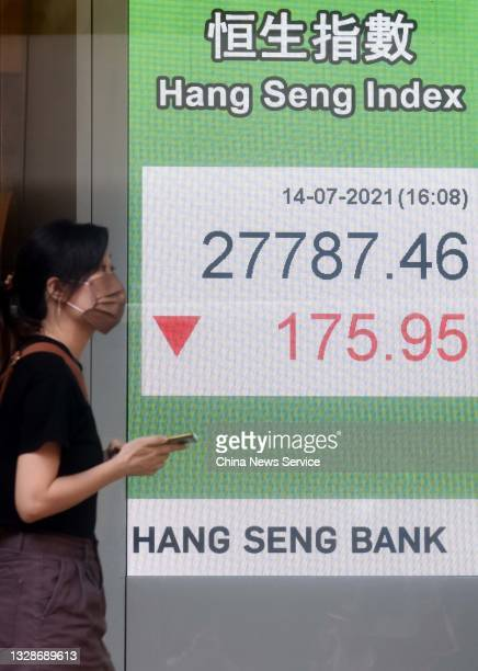 Pedestrian wearing a mask walks by an electronic screen displaying the Hang Seng Index on July 14, 2021 in Hong Kong, China.