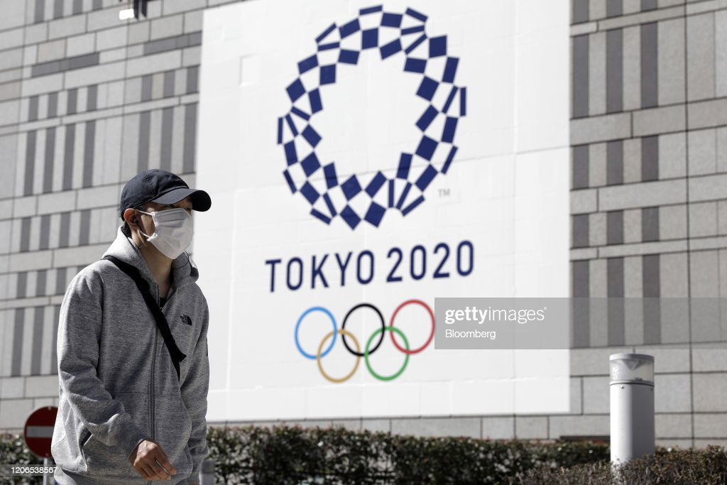 Olympics Logos as Japan Minister Says Tokyo Games Postponement 'Inconceivable' : News Photo