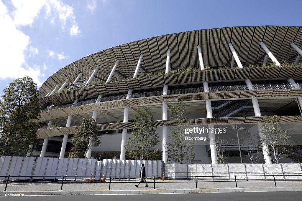 Olympics Logos as Japan Minister Says Tokyo Games Postponement 'Inconceivable' : ニュース写真