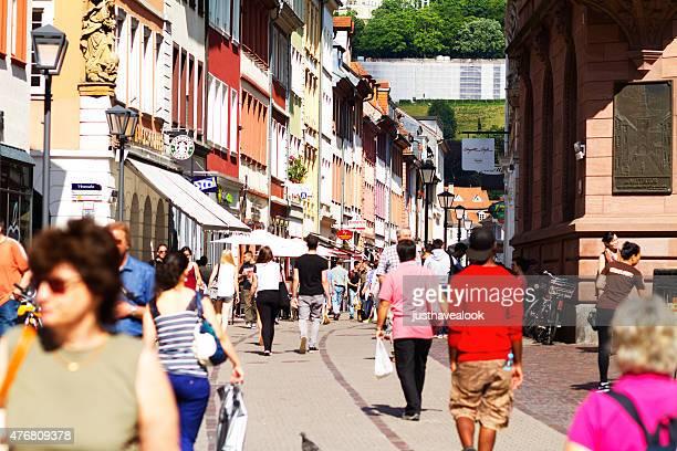 pedestrian zone hauptstraße in heidelberg - hauptstraße stock pictures, royalty-free photos & images