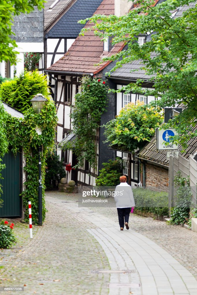 Pedestrian zone of Ruhrstraße in Essen Kettwig : Stock Photo
