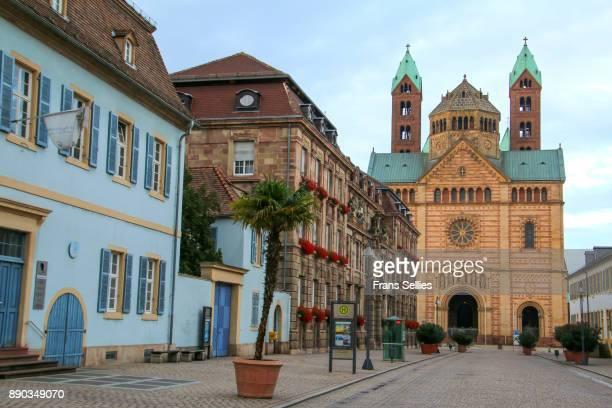 pedestrian zone with view on the speyer cathedral, germany - unesco stock-fotos und bilder