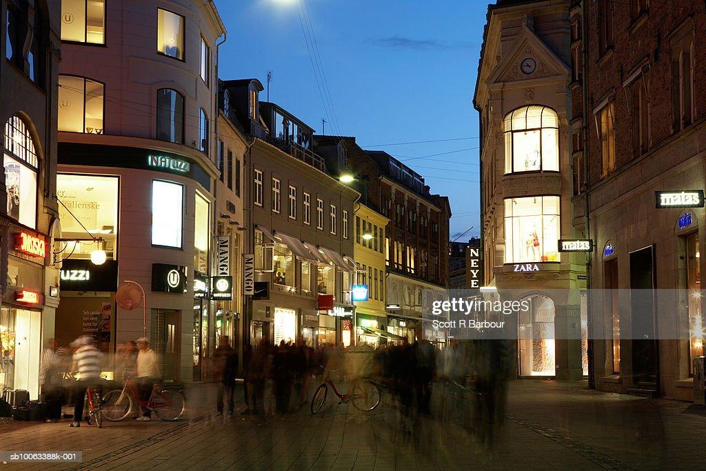 Pedestrianised shopping street Amagertorv in Stroget. Copenhagen, Denmark. : Stock Photo
