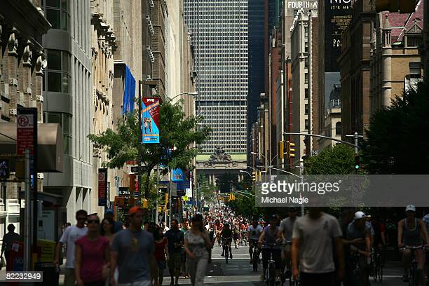 Pedestrians and bicyclists make their way down Park Avenue during the first of three NYC's Summer Streets on August9, 2008 in New York City. Seven...