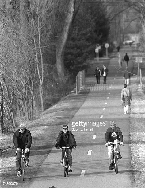 AIR Pedestrians and bicyclists use the Capitol Crescent Trail near River Road in Bethesda Md