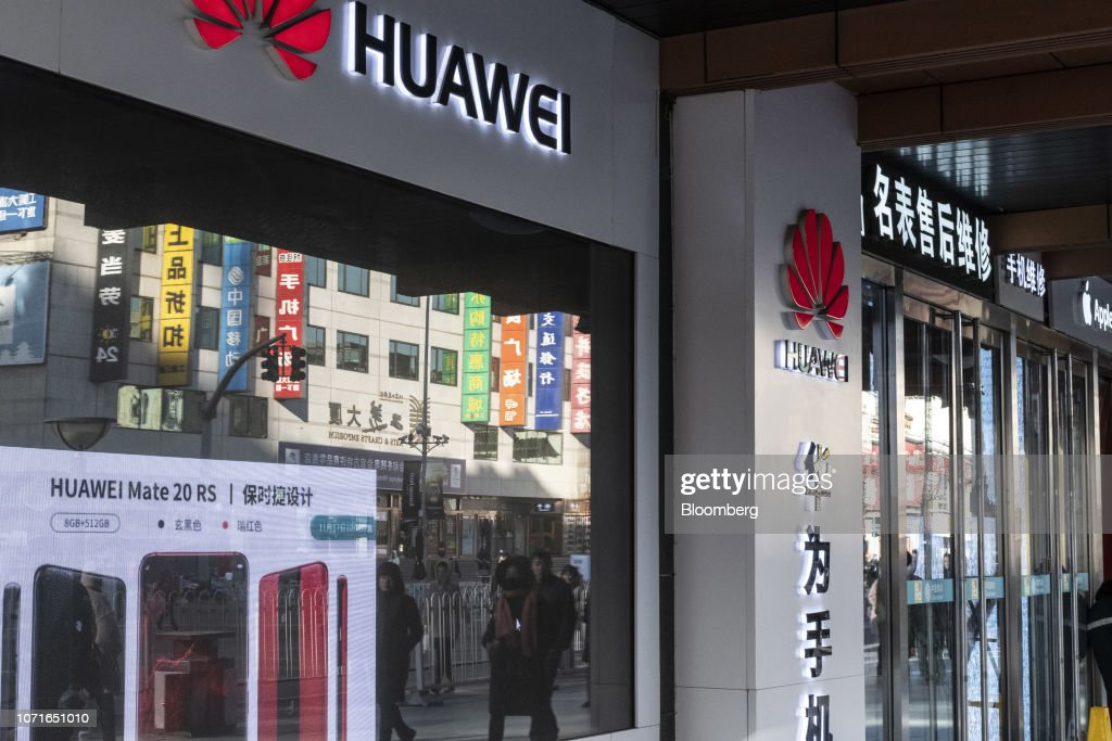 Huawei Ads in China as Tensions Rise Following CFO Meng's Arrest in Canada : News Photo