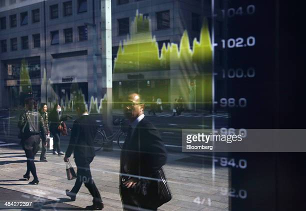 Pedestrians are reflected in an electronic stock board outside a securities firm in Tokyo, Japan, on Friday, April 11, 2014. Japan's Topix index fell...