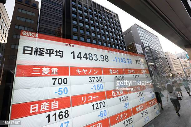 Pedestrians are reflected in an electronic stock board showing the closing figure of the Nikkei 225 Stock Average outside a securities firm in Tokyo...