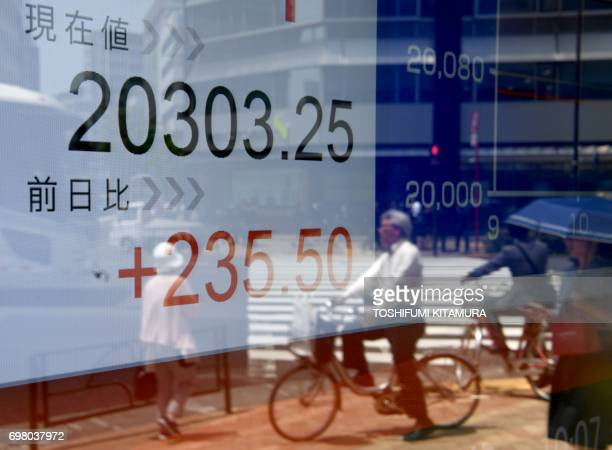 Pedestrians are reflected in the window of a securities company displaying the numbers on the Tokyo Stock Exchange along a street in Tokyo on June 20...