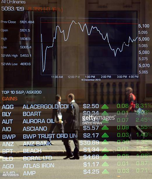 Pedestrians are reflected in the window showing market numbers at Australia's stock exchange in the central business district of Sydney on December...